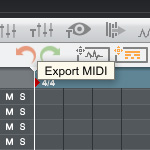 Bildausschnitt MPC Software MIDI Export Button